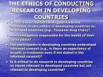 the ethics of conducting research in developing countries