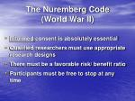 the nuremberg code world war ii
