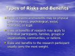 types of risks and benefits