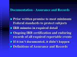 documentation assurance and records