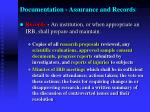 documentation assurance and records2