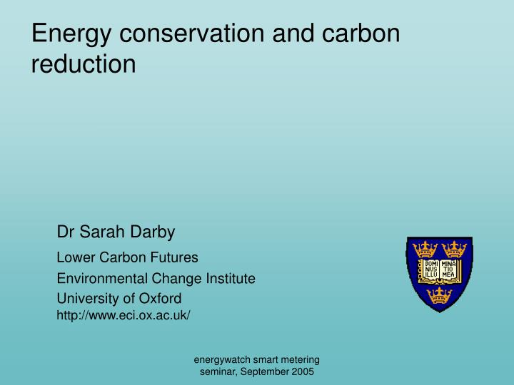 energy conservation and carbon reduction n.