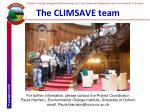 the climsave team