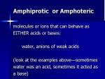 amphiprotic or amphoteric