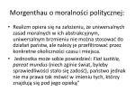 morgenthau o moralno ci politycznej