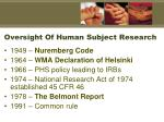 oversight of human subject research
