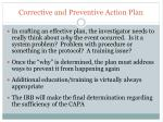 corrective and preventive action plan