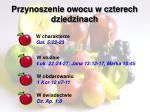 przynoszenie owocu w czterech dziedzinach