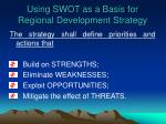 using swot as a basis for regional development strategy