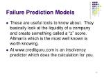failure prediction models