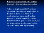 failure to implement bmps and or alternative conservation approaches