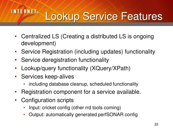 Lookup Service Features