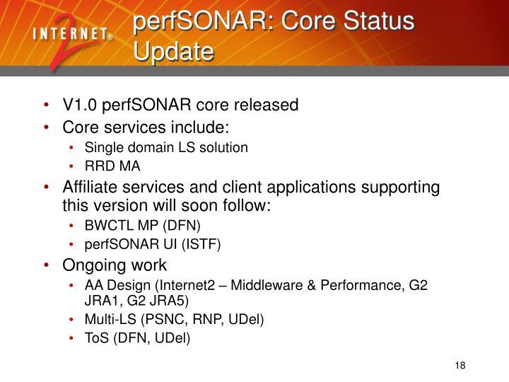 perfSONAR: Core Status Update