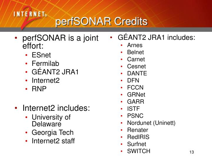 perfSONAR is a joint effort: