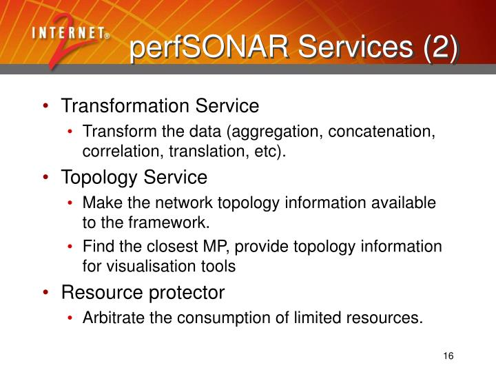 perfSONAR Services (2)