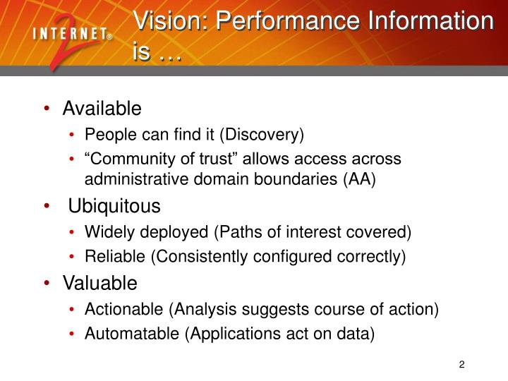 Vision performance information is