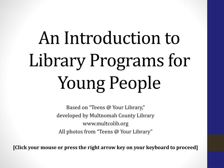 an introduction to library programs for young people n.