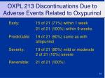 oxpl 213 discontinuations due to adverse events related to oxypurinol1