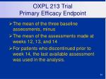 oxpl 213 trial primary efficacy endpoint