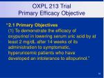 oxpl 213 trial primary efficacy objective