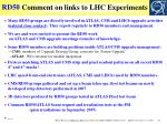 comment on links to lhc experiments