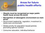 areas for future public health efforts