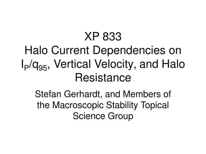 xp 833 halo current dependencies on i p q 95 vertical velocity and halo resistance n.