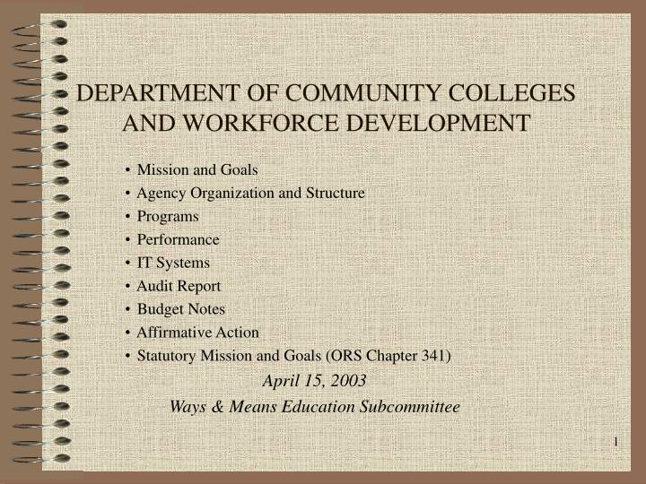 department of community colleges and workforce development n.