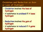 oxidation and reduction as gain or loss of hydrogen