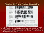 results cdna and peptide sequencing