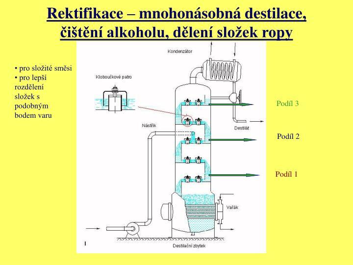 Rektifikace – mnohonásobná destilace, čištění alkoholu, dělení složek ropy