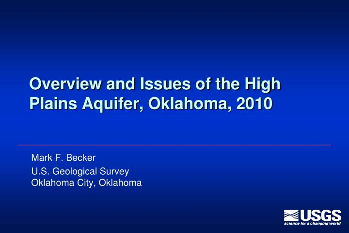 overview and issues of the high plains aquifer oklahoma 2010 n.