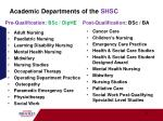 academic departments of the shsc