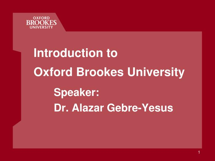 introduction to oxford brookes university n.