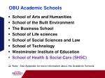 obu academic schools
