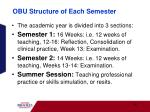 obu structure of each semester