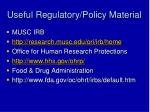 useful regulatory policy material
