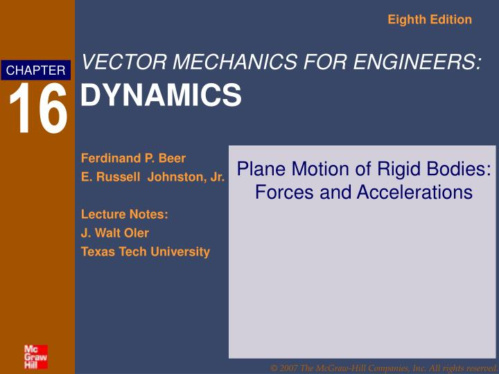 plane motion of rigid bodies forces and accelerations n.