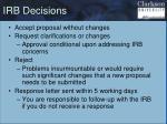 irb decisions