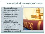 seven ethical assessment criteria