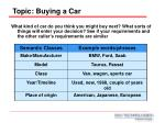 topic buying a car