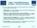 step 3 text editing process 2nd matrix structured text editing