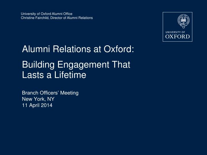 Alumni Relations at Oxford:
