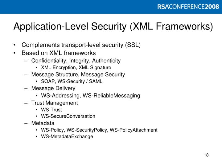 Application-Level Security (XML Frameworks)