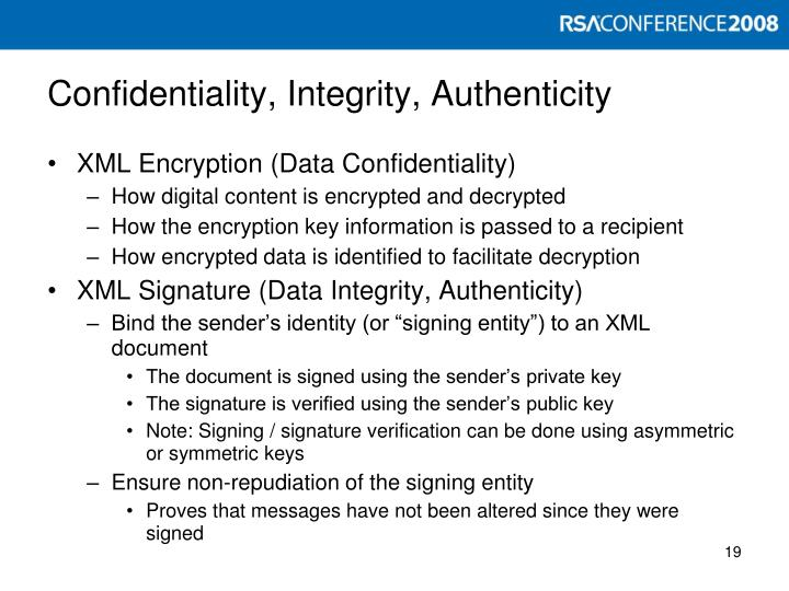 Confidentiality, Integrity, Authenticity