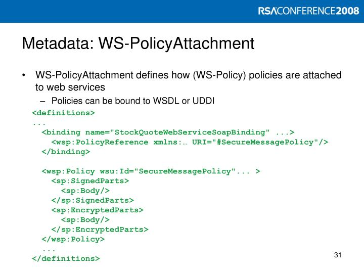 Metadata: WS-PolicyAttachment