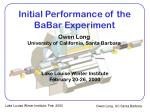 initial performance of the babar experiment