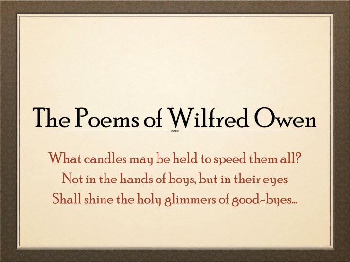 the poems of wilfred owen n.