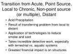 transition from acute point source local to chronic non point source or multiple distant