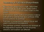summary of fatty acid biosynthesis